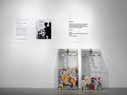 Hans Haacke, <em>MOMA Poll</em>, 1970. Two transparent ballot boxes with automatic counters and color-coded ballots; boxes: 40 x 20 x 10 inches each; paper ballots: 3 x 2 1/2 inches each. Courtesy the artist and Paula Cooper Gallery, New York.