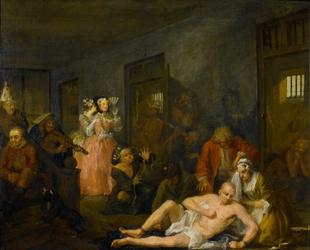 William Hogarth, <em>A Rake's Progress, 8: The Madhouse</em>, 1734. Oil on canvas. © The Trustees of Sir John Soane's Museum.