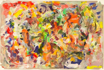Larry Poons, <em>Untitled</em>, 1996. Acrylic and mixed media on paper, 12 x 18 inches. Courtesy Larry Poons and Yares Art. Photo: Jason Mandella Photography.