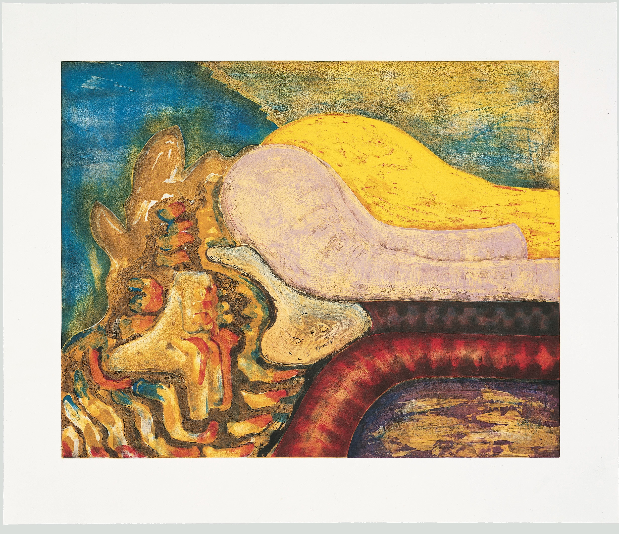 Bill Jenson, <em>Defiance</em>, 1996. Intaglio in 8 colors with spitbite and aquatint on Arches En Tout Cas paper, 36 1/4 x 42 3/4 inches. Courtesy ULAE.