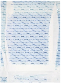 Julia Rommel, <em>Family Vacation</em>, 2015. Lithograph in 3 colors with die-cut on folded paper, 36 x 26 inches. Courtesy ULAE.
