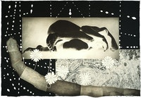 Kiki Smith, <em>Worm</em>, 1992, Intaglio with collage on Japan paper, 42 3/4 x 62 inches. Courtesy ULAE.