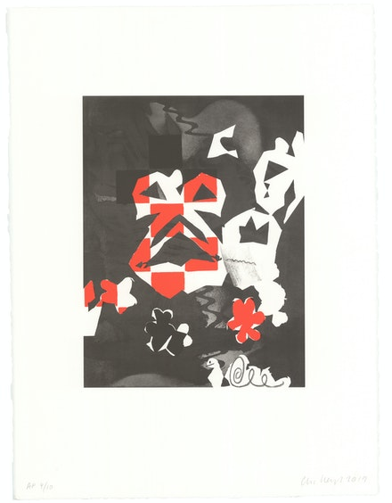 Charline von Heyl, <em>Trickster</em>, 2019 Lithograph in 2 colors, 30 x 22 inches. Courtesy the artist.