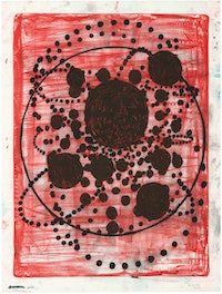Terry Winters, <em>Red Stone</em>, 2019. Lithograph in 3 colors on Revere Standard White Felt paper, 51 5/8 x 39 inches. Courtesy ULAE.