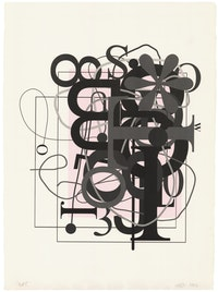 Christopher Wool, <em>Untitled</em>, 2013. Lithograph in 2 colors on J. Whatman handmade paper, 30 1/2 x 22 1/2 inches. Courtesy ULAE.
