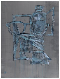 Wyatt Kahn, <em>Untitled</em>, 2018. Lithograph in 6 colors on lead, 52 x 39 inches. Courtesy ULAE.