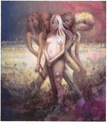 Lisa Yuskavage, <em>Hippies in Tit Heaven</em>, 2015. Lithograph in 12 colors on Coventry Rag, 38 5/8 x 34 3/4 inches. Courtesy ULAE.