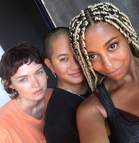 (From left to right) Emma Burgess-Olson (UMFANG), Christine McCharen-Tran (of Chromat) and Frankie Decaiza Hutchinson (BEARCAT). Image courtesy of Discwoman. Photo: Frankie Hutchinson.