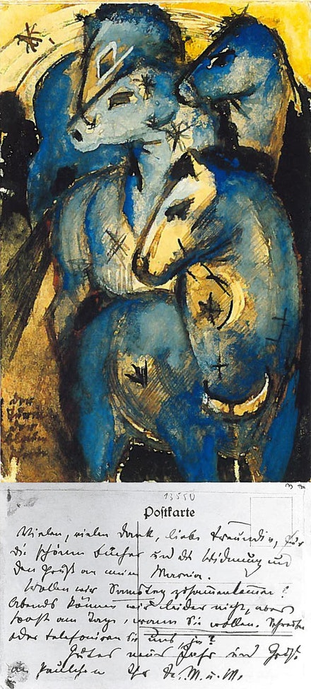The Tower of Blue Horses, 1912/13, indian ink, brush, opaque colours on postcard, from Franz Marc to Else Lasker-Schüler, in Berlin.