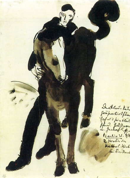 Blue Rider and His Horse, postcard from Franz Marc to Else Lasker-Schüler, in Berlin.