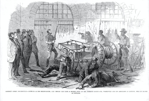 Harper's Ferry insurrection, Interior of the Engine-House. Wood engraving published in Frank Leslie's illustrated newspaper, v. 8, no. 205 (1859, Nov. 5). Library of Congress.