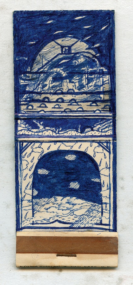 David Lynch, <em>Matchbook Drawing #5</em>, early 1970s. Ballpoint pen and pencil on matchbook cover, 3 3/4 x 1 1/2 inches. Courtesy the artist.
