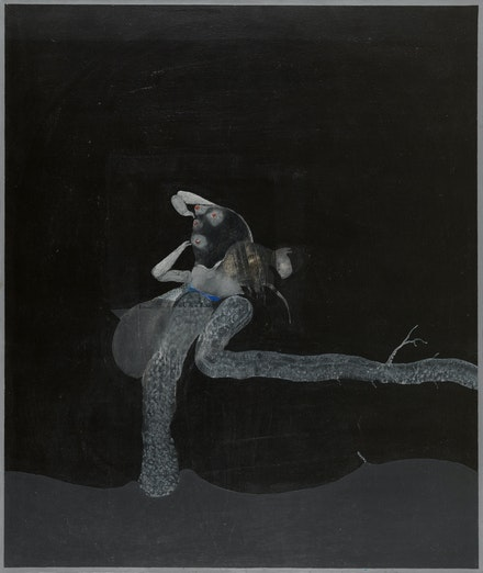 David Lynch, <em>Woman with Tree Branch</em>, 1968. Oil and acrylic on canvas, 48 x 40 inches. Rodger LaPelle and Christine McGinnis. Courtesy the artist.