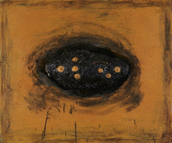 David Lynch, <em>Rock With Seven Eyes</em>, 1996. Oil and mixed media on canvas, 50 x 60 inches. Courtesy the artist.