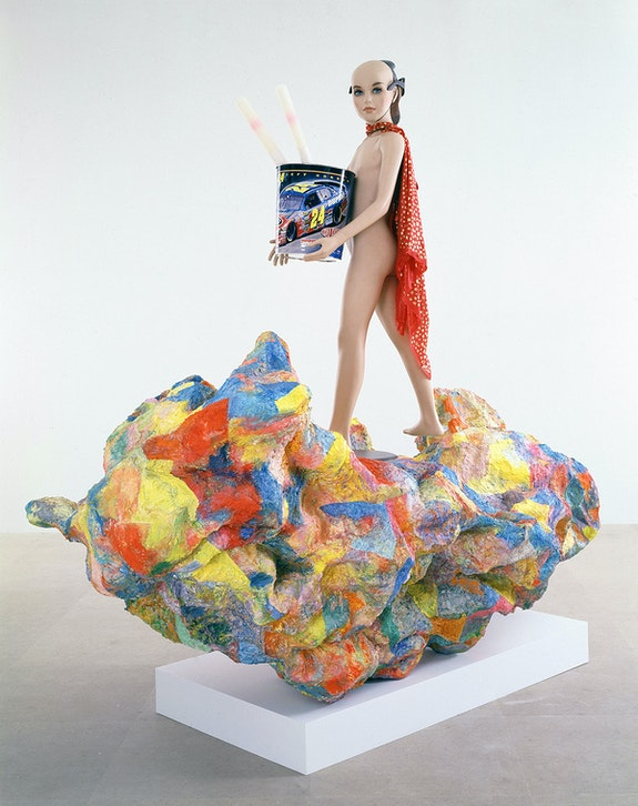 Rachel Harrison, <em>Alexander the Great</em>, 2007. Wood, chicken wire, polystyrene, cement, acrylic, mannequin, Jeff Gordon waste basket, plastic Abraham Lincoln mask, sunglasses, fabric, necklace, and two unidentified items, 87 x 91 x 40 inches. The Museum of Modern Art, New York. Courtesy the artist and Greene Naftali, New York. Photo: Jean Vong.