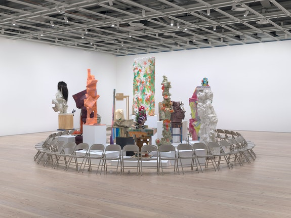 Installation view: <em>Rachel Harrison Life Hack</em>, Whitney Museum of American Art, New York, 2019-2020. Photo: Ron Amstutz.
