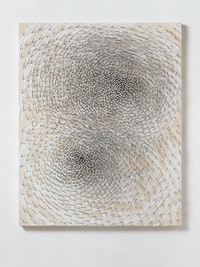 "Günther Uecker,<em> Doppelspirale ""Both""</em>, 2019. Nails and white paint on canvas on wood 78 3/4 x 62 x 9/10 inches. © 2019 Artists Rights Society (ARS), New York / VG Bild-Kunst, Bonn Photo: Ivo Faber."