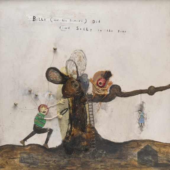 David Lynch, <em>Billy (and His Friends) Did Find Sally in the Tree</em>, 2019. Mixed media painting, 66 x 66 inches. Courtesy the artist and Sperone Westwater, New York.