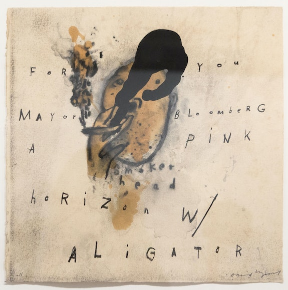 David Lynch, <em>Smoker Head</em>, 2011. Mixed media on paper, 19 3/4 x 19 3/4 inches. Courtesy the artist and Sperone Westwater, New York.