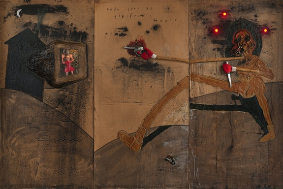 David Lynch, <em>Pete Goes to His Girlfriend's House</em>, 2009. Mixed media on cardboard, 72 x 108 inches. Courtesy the artist.