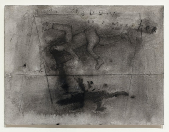 David Lynch, <em>My Shadow is a Monster</em>, 2011. Mixed media on paper, 18 x 21 1/4 inches. Courtesy the artist and Sperone Westwater, New York.