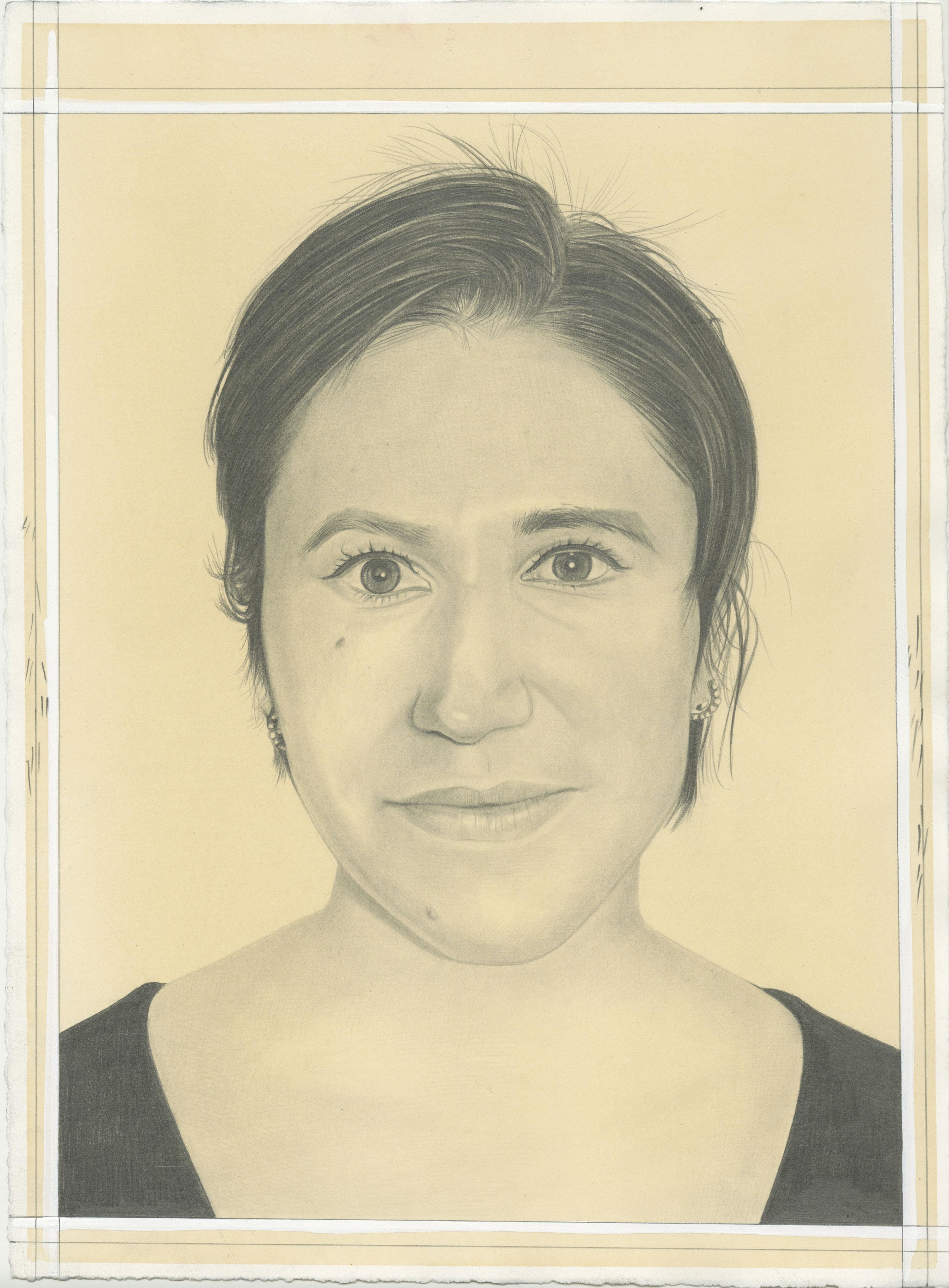 Portrait of Barbara De Vivi, pencil on paper by Phong Bui.