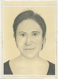 Portrait of Barbara De Vivi, pencil on paper by Phong Bui.