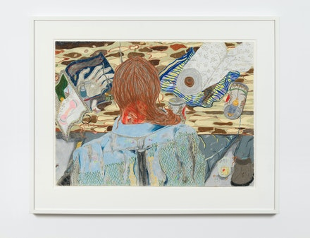 Ann Green Kelly, <em>Shirt with Smokestack</em>, 2019. Colored pencil on paper, 18 7/8 x 26 inches. Courtesy the artist and Chapter NY, New York. Photo: Dario Lasagni.