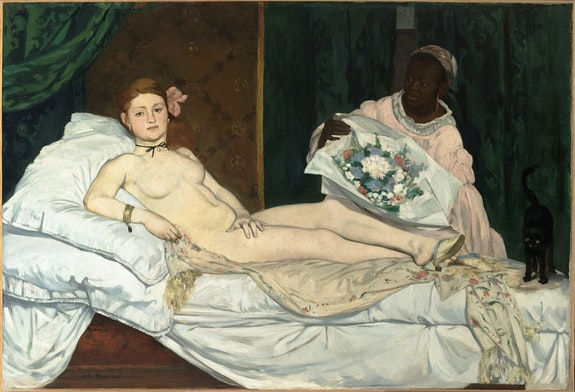 Édouard Manet, <em>Olympia</em>, 1863. Oil on canvas, 51 1/2 x 74 3/4 inches. Collection of the Musée d'Orsay, Paris.