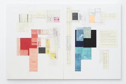 Deb Sokolow, <em>Mr. Richard M. Nixon's Difficulties with Ovals, Version 2</em>, 2019. Graphite, crayon, colored pencil, pastel, and collage on panel diptych, 50 x 76 x 1 1/2 inches.