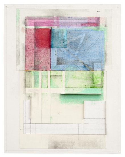 Deb Sokolow, <em> A House Which Expands and Contracts Depending on the Emotions of its Occupants </em>, 2019. Graphite, crayon, coloured pencil, pastel, and collage on paper, 14 x 11 x 1 inches.