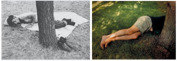 <em>In the Garden (Homage to Robert Frank)</em> borrows from the structure of Frank's image.