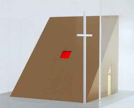 Stephen Antonakos, Untitled Chapel Model, 2011. Gold paint and white paint on wood, plexiglass case, 12 x 14 1/2 x 12 inches. Courtesy Loretta Howard, New York.
