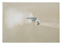 Vija Celmins, <em>Gun with Hand #1</em>, 1964, Oil on canvas, 24.5 x 34.5 in. The Museum of Modern Art, New York, gift of Edward R. Broida in honor of John Elderfield. © Vija Celmins / Courtesy Matthew Marks Gallery