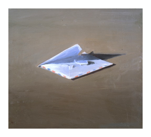 Vija Celmins, <em>Envelope </em>, 1964, Oil on canvas, 16.5 x 18 in. Collection of Helen and Charles Schwab. © Vija Celmins / Courtesy Matthew Marks Gallery