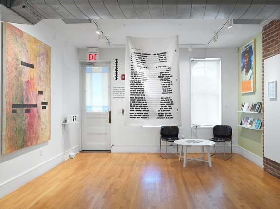 <em>Otherwise Obscured: Erasure in Body and Text</em>, installation view. Photo by Object Studies and courtesy of Franklin Street Works.
