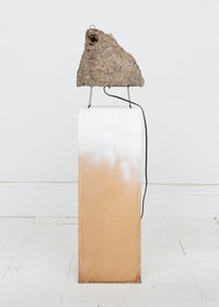 Louis Osmosis, <em>Akari 1N</em>, 2019 Hornet nest, found pedestal, lamp cord, copper wire, solder, extension cord, plasti-dip, spray paint 49 x 13 x 10 in.