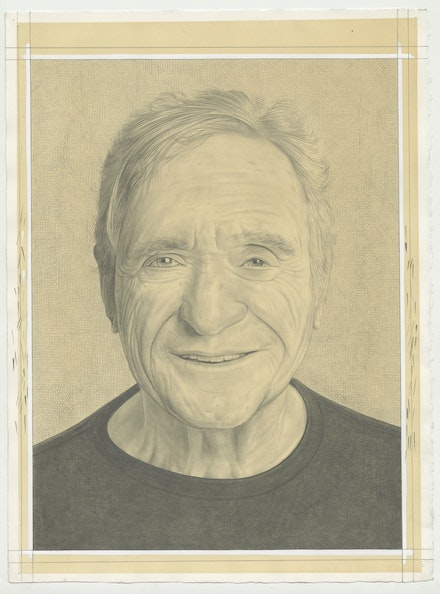 Portrait of John Giorno, pencil on paper by Phong Bui.