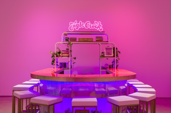 Installation view: <em>Sadie Barnette: The New Eagle Creek Saloon</em>, Institute for Contemporary Art, Los Angeles, 2019–2020. Courtesy ICA LA.