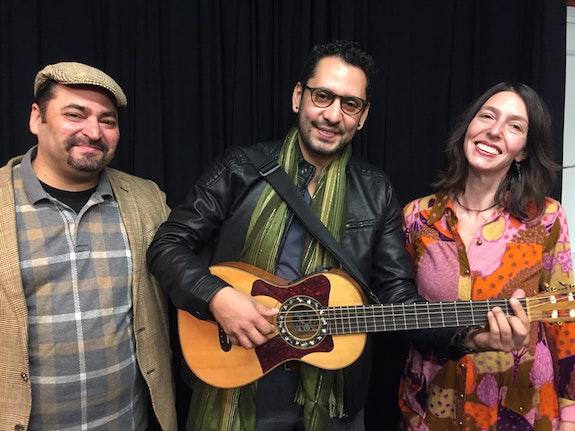 The creative team of <em>Fandango for Butterflies (and Coyotes)</em>, left to right: director José Zayas, composer/music director Sinuhé Padilla, playwright Andrea Thome. Photo: Anne Hamburger.