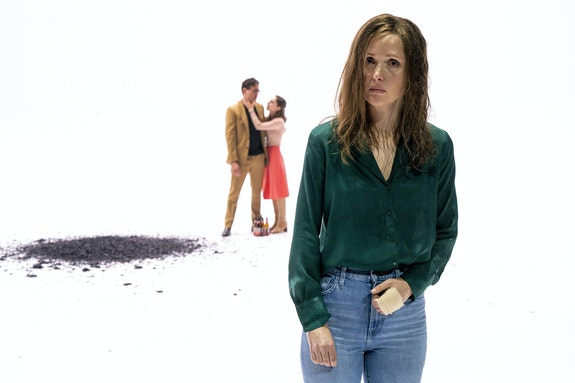 Simon Stone's <em>Medea</em> at BAM: (left to right) Bobby Cannavale, Madeline Weinstein, Rose Byrne (in foreground).