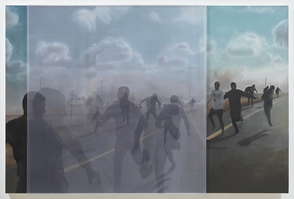 Bradley McCallum, <em>Retreat (Road to Ajdabiya, Libya, April 1, 2011, 12:00 pm)</em>, 2019. Oil on linen, toner on silk, 56.5 x 85 inches. Image courtesy of the artist.