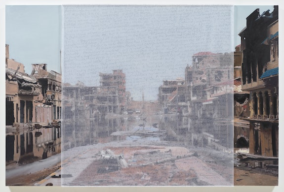 Bradley McCallum, <em>Ruins (Downtown Sirte, Libya, after the capture and killing of Muammar el Gaddafi, October 24, 2011)</em>, 2018. Oil on linen, toner on silk, 56.5 x 85 inches. Image courtesy of the artist.</em>