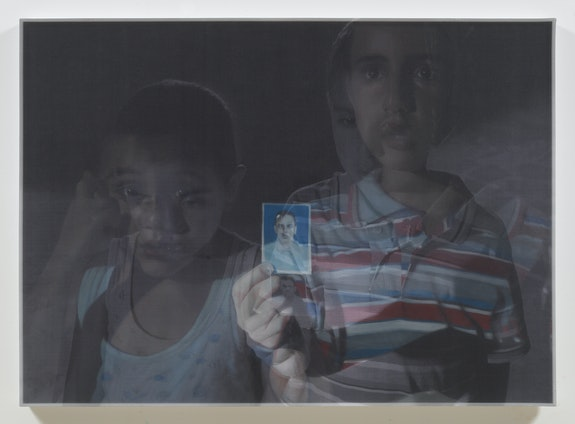 Bradley McCallum, <em>Brothers (Libya, August 12, 2011, 12:32 am)</em>, 2018.Oil on linen, toner on silk, 36.5 x 50.5 inches. Image courtesy of the artist.