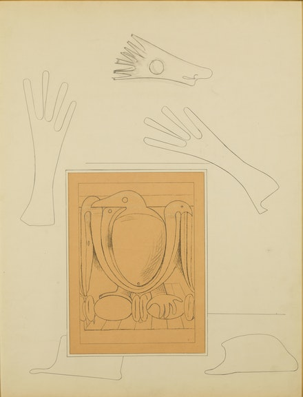Max Ernst, <em>Loplop présente</em>, 1931. Pencil, ink and collage on paper, 25 1/2 x 19 1/2 inches. © 2020 Artists Rights Society (ARS), New York/ ADAGP, Paris, France. Courtesy Kasmin Gallery. Photo: Diego Flores.