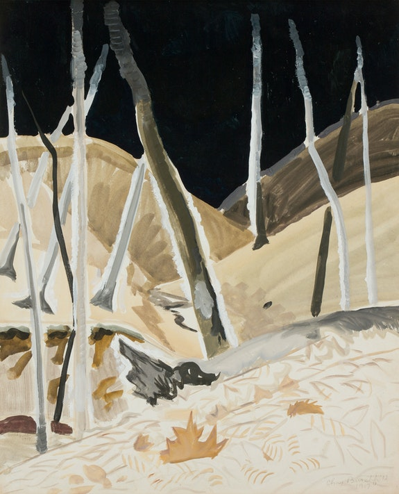 Charles Burchfield, Black Void, April 28, 1917. Watercolor and gouache on paper, mounted onboard, 22 x 18 inches. Courtesy DC Moore Gallery, New York.