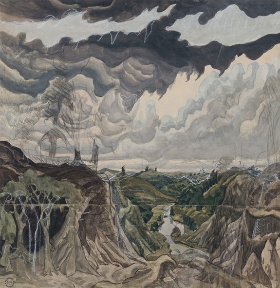 Charles Burchfield, Jaws of the World, 1920. Watercolor, gouache, pencil, chalk, and charcoal on joined paper, mounted on board 29 5/8 x 29 1/2 inches. Courtesy DC Moore Gallery, New York.