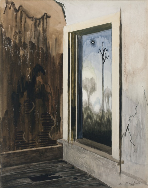 Charles Burchfield, Window In a Deserted House, 1917. Watercolor, gouache, and pencil on paper, mounted on board, 23 x 18 inches. Courtesy DC Moore Gallery, New York.