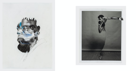 (Right) <em>Henly Robertson</em>, 2019, charcoal, graphite, color pencil, pastel, oil stick on hand dyed paper. 49 3/4 x 37 7/8 in. Courtesy of David Nolan Gallery and Wardell Milan. (Left) <em>Edward</em>, 2019, cut-and-pasted printed paper. 11 x 9 1/8 in. Courtesy of Fraenkel Gallery and Wardell Milan.
