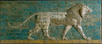 Reconstructed panel of bricks with a striding lion, Neo-Babylonian Period (reign of Nebuchadnezzar II, 604-562 BCE). Molded and glazed baked clay, Processional Way, El-Kasr Mound, Babylon, Iraq. Courtesy The Metropolitan Museum of Art, New York.